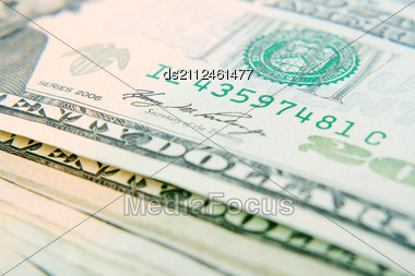 Macro Of Set Of 20 Dollar Bills, Shallow DOF Stock Photo