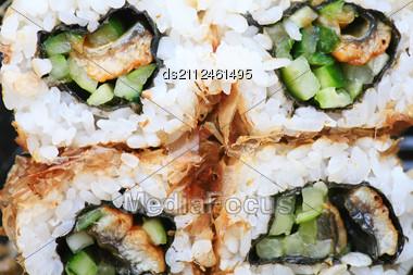 Macro Set Of Four Sushi With Tuna Stock Photo