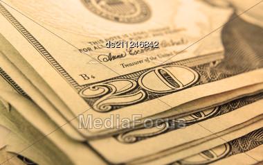 Macro Of Set Of Well Used Dollar Bills, Shallow DOF Stock Photo
