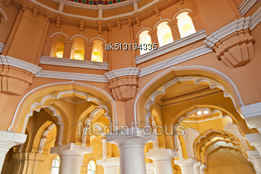 MADURAI, INDIA - MARCH 23: Arches Of Tirumalai Nayak Palace On March, 23 In Madurai, India. The Indo-Saracenic Palace Was Built In 1636 By The Ruler Whose Name It Bears Stock Photo