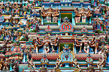 MADURAI, INDIA - MARCH 23: Relief Of Meenakshi Temple On March, 23, 2012, Madurai, India. Religious Hall Of Thousands Columns In Meenakshi Temple - The Oldest Hindu Temple Stock Photo