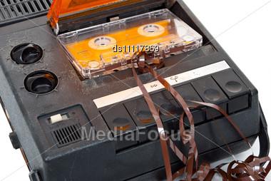 Magnetic Audio Tape Cassette Recorder Stock Photo