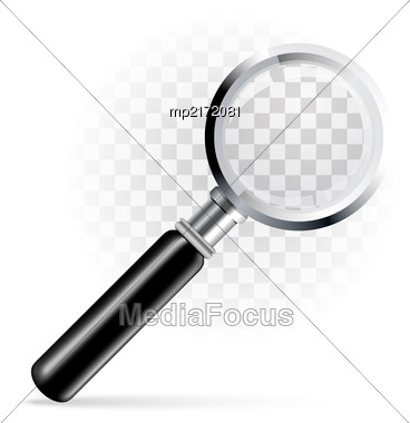 Magnifying Glass, Magnifier On A Transparent Background. Vector Illustration Stock Photo