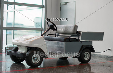 Maintenance Personnel Car At The Airport Stock Photo