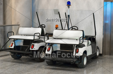 Maintenance Personnel Cars At The Airport Stock Photo