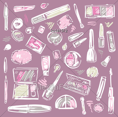Makeup Products Set. Cosmetics. Hand Drawn Vector Illustration Stock Photo