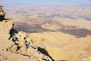 Makhtesh Ramon, Unique Crater In Israel, A Top View Stock Photo