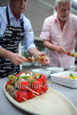 Making Barbecue Kebabs Stock Photo