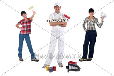 Male And Female Decorators Stock Photo