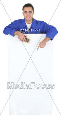 Male Artisan Worker With Message Board Stock Photo