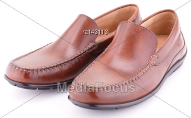 Male Brown Shoes Isolated On White Background Stock Photo