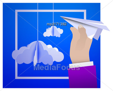 Male Hand Holding A Paper Plane Against The Sky With Paper Clouds In The Style Of Origami. Vector Illustration Stock Photo