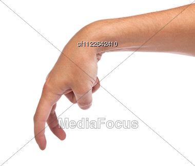 Male Hand Is Showing The Walking Fingers Stock Photo
