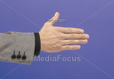 Male Hand Ready for Handshake Stock Photo
