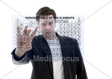 Male With Pereodic Table Of Elements On Touch Screen Interface. Isolated On White. Stock Photo
