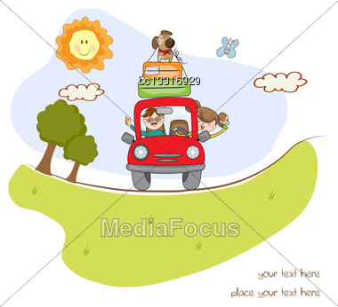 Man And Woman Traveling By The Car Stock Photo
