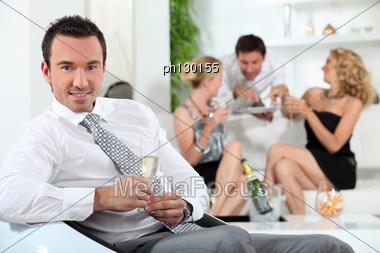 Man At A House Party Stock Photo