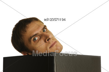 Man Behind The Open Book Stock Photo
