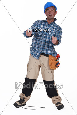 Man Being Electrocuted Stock Photo