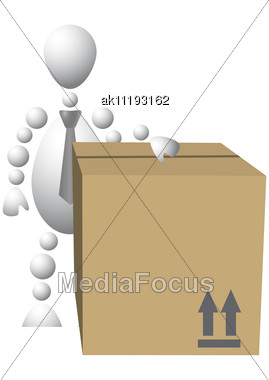 Man With Brown Cardboard Box Abstract 3d-human Series From Balls Variant Of White Stock Photo