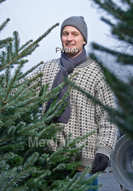 Man Buying Christmas Tree Stock Photo