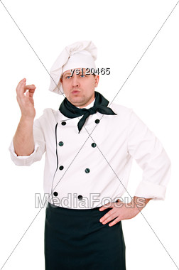 Man Cook Shows All Right Stock Photo