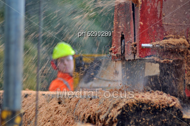 Man Cutting Up A Large Red Pine Log With A Portable Sawmill, Westland, New Zealand. Native Timber Is Milled Under Permit In New Zealand Stock Photo