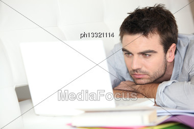 Man Doing Computer Work Stock Photo