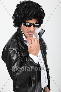 Man Dressed As A Rock-star Stock Photo