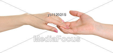 Man's And Female Hand Stock Photo