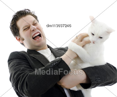 Man Fighting With White Cat. Isolated On White. Stock Photo