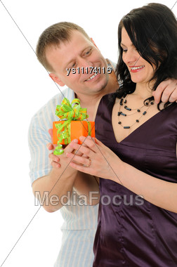 Man The Gift Has Presented The Woman Stock Photo