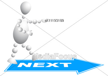 Man Goes To The Next Step Abstract 3d-human Series From Balls Variant Of White Stock Photo