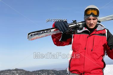 Man Going Skiing Stock Photo