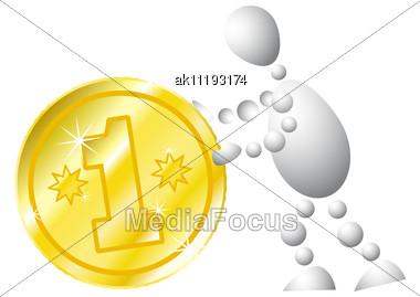 Man With Golden Coin Abstract 3d-human Series From Balls Variant Of White Stock Photo
