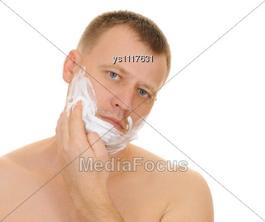 Man Has A Shave Stock Photo
