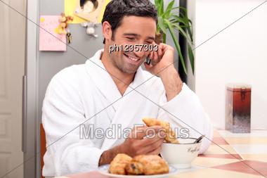 Man Having Breakfast Stock Photo