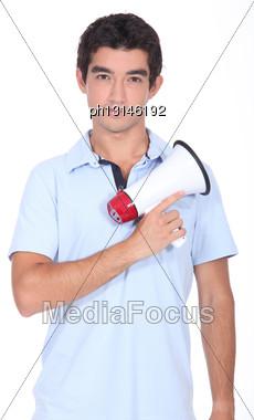 Man Holding Megaphone Stock Photo