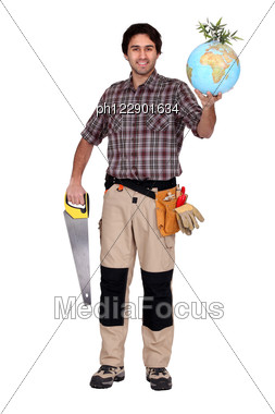 Man Holding Saw And Globe Stock Photo