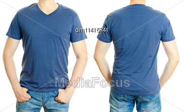 Man In Blue T-shirt. Isolated On White Background Stock Photo