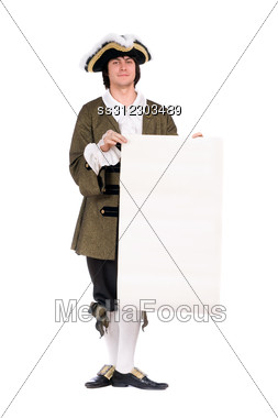 Man In A Historical Costume With The Decree. Stock Photo