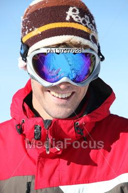 Man In Ski Goggles Stock Photo