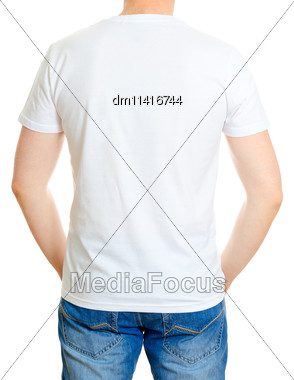 Man In White T-shirt. Isolated On White Background Stock Photo