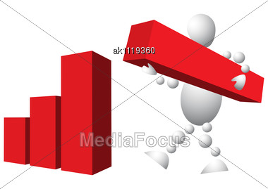 man is building diagram from red blocks abstract 3d-human series from balls  variant of