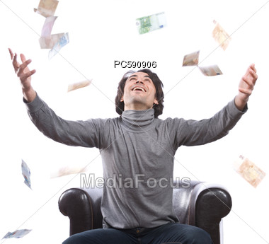 Man Is Pleased About Money Rain Stock Photo