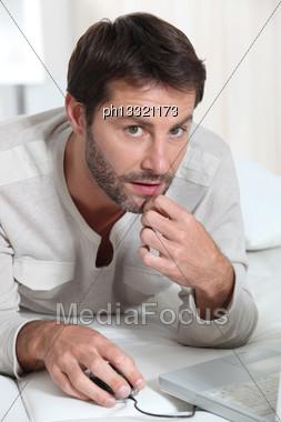 Man On Laptop Stock Photo