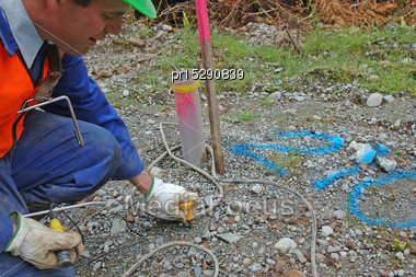 Man Places Geophone In Ground At Hole 210 For Seismic Test, Westland, New Zealand Stock Photo