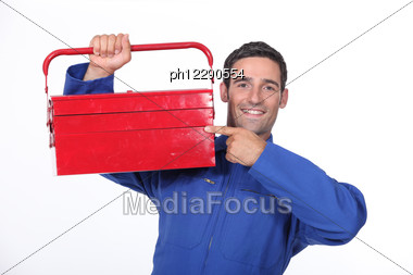 Man Pointing To His Toolbox Stock Photo