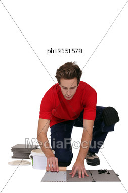 Man Posing Tiles. Stock Photo