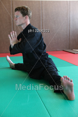 Man Practicing Martial Arts Moves Stock Photo